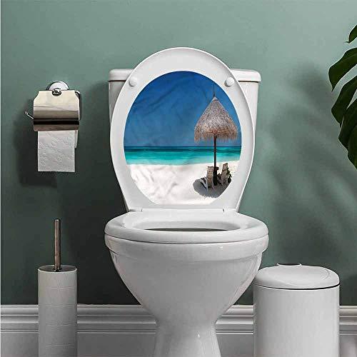 ThinkingPower Coastal Toilet Decals Sunbeds in Azure Shoreline Funny Grow Sticker Decal W14XL14 INCH