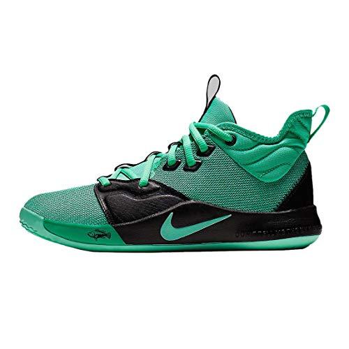 Nike Kids' Grade School PG 3 Basketball Shoes (5.5, Emerald/Black)