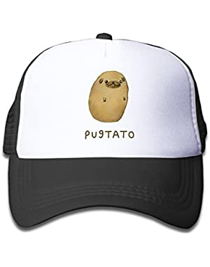 Pug Nose Potato Pugtato Adjustable Snapback Hat Summer Hats For Girl Boy One Size Fits Most