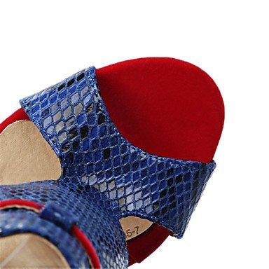 Stiletto LvYuan Black Vestido Negro del Tacón Informal Cuero Gladiador Patentado Vellón Rojo Sandalias Innovador club Zapatos rra5qxB