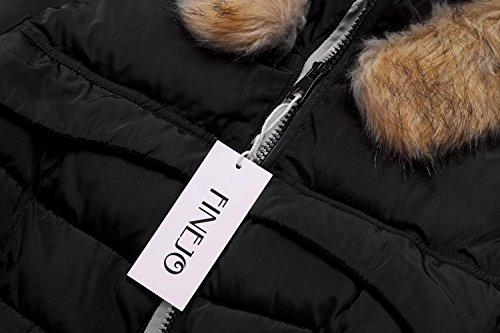 Giù Finejo Donne Lungo Cappotto Inverno Caldo Delle Parka Ispessito Giacca Nero Di Cappuccio Pelliccia 8r8UqH