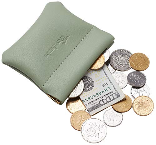 Travelambo Leather Squeeze Coin Purse Pouch Change Holder For Men & Women (Access Green Blooming) ()