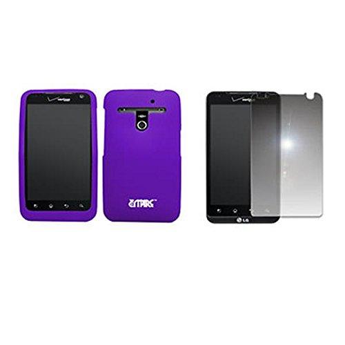 EMPIRE Purple Silicone Skin Case Étui Coque Cover Couverture + Mirror Films de protection d'écran for Verizon LG Revolution VS910