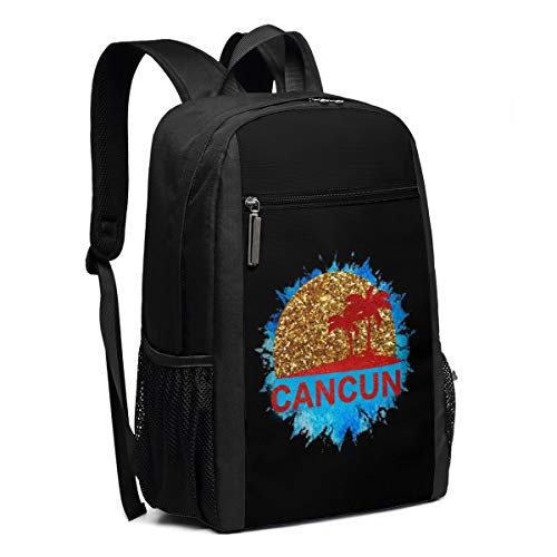 Cancun Light - Backpack, Travel Hiking Cancun Mexico Sunset And Palm Trees Beach Backpacks Lightweight Mens Womens Unisex Computer Gaming Laptop Shoulder Bag Outdoor Backpacks For Men Women Adults
