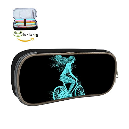 Mermaid On A Bike Pencil Case, Homecube Big Capacity Pen Bag Makeup Pouch Durable Students Stationery with Double Zipper,Black