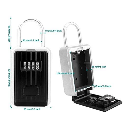 Key Lock Box Storage Safe Box Realtor 4-Digit Combination Lock Box Padlock Security for Home Garage School Spare House Car Keys by xixiw (Image #3)