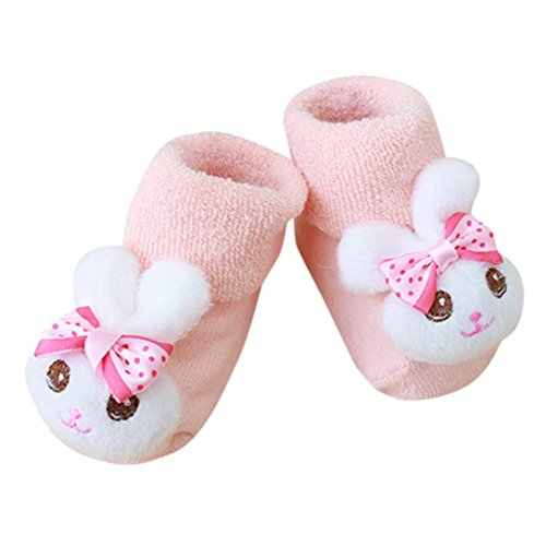 SUKEQ Baby Shoes, Toddler Newborn Non Skid Soft Sole Socks Slipper, Anti Slip Winter Warm Moccasins Boots Crib Shoes for Infant Boys Girls Prewalker (Bow Bunny -