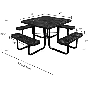 "Lifeyard 46"" Expanded Heavy-duty Mental Mesh Black Square Picnic Table Steel Frame for Commercial"