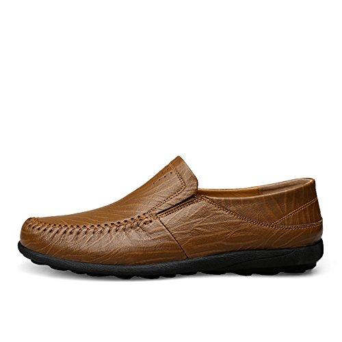 resbaladizo Zapatos de Ocasionales y Blandas de Hombres Barco Suelas Son Mocasín de los Mocasines Cuero refrescantes Khaki con de Hollow conducción no Genuino Rngn4qw8