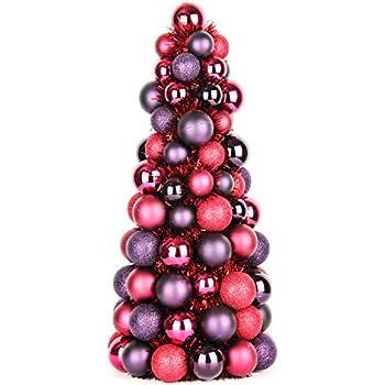 Jusdreen Christmas Ball Ornaments Tree Shatterproof Christmas Decorations Tree Balls Maroon Purple