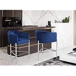 Kitchen Iconic Home Cyrene Counter Stool Chair Velvet Upholstered Shelter Arm Shell Design 3 Legged Chrome Tone Solid Metal Base… modern barstools