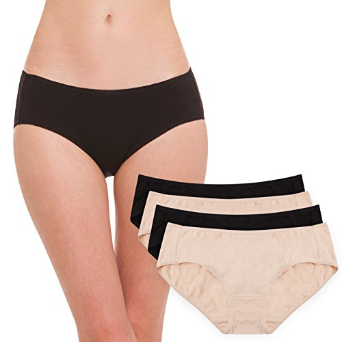 Hesta Women's Organic Cotton Basic Panties Underwear 4 Pack (Small, 2black/2natural)