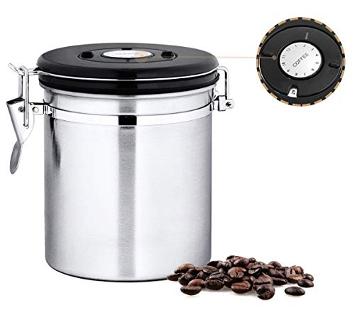 Chef's Star 16 oz Stainless Steel Airtight Canister Coffee Vault with Built-in CO2 Gas Vent Valve and Date Tracking Wheel for Coffee Beans and Coffee ()