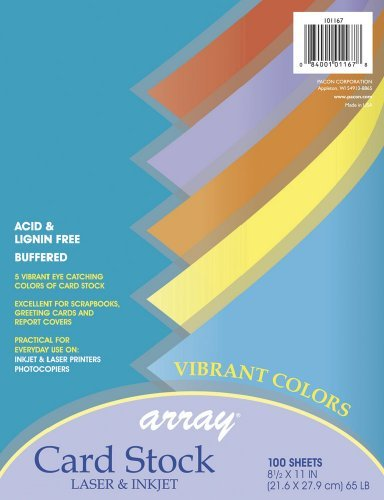 Hyper Assortment Colors (Array Card Stock, Vibrant Colors, Assorted, 100 Sheets by Array)