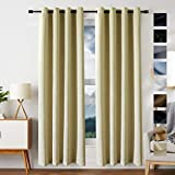 FREELIFE 100% Blackout Curtains 2 Panels Set Room Darkening Drapes Thermal Insulated Solid Grommets Window Treatment Pair for Bedroom, Nursery, Living Room(2 Panels,W52xL84 inch,Black)