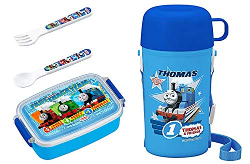 - 4 Thomas the Tank Engine Products - Lunch Box, Thermos with Cup, Spoon and Fork