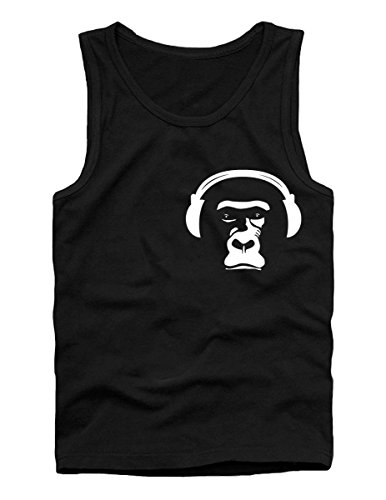 (SODAtees Monkey Ape Headphones DJ Tank TOP Shirt Unisex tee Cool Music Shirt -blk-M)