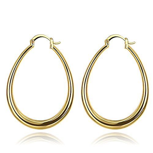 40mm Big Teardrop Oval Hoop Earrings 14K Yellow Gold For Women Girls Hoops for Sensitive Ears 14k Yellow Gold Teardrop Earrings