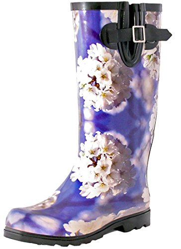 TWO Nomad Women's Drench Colorful Pattern Print Waterproof Rain Boots Blue/White Flower Cluster