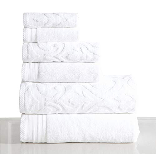 600 GSM Ultra Soft Luxurious 6-Piece Towel Set (White): 2 Bath Towels, 2 Hand Towels, 2 Washcloths, Long-Staple Combed Cotton, Spa Hotel Quality, Super Absorbent, Machine Washable