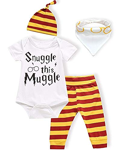 - 3Pcs/Set Infant Baby Boys Girls Snuggle Rompers+Striped Pants+Hat Take Home Outfits (White 2, 3-6 Months)