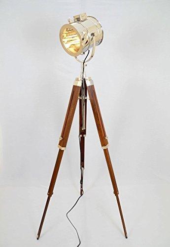 Lámpara de estilo vintage con trípode de madera, color plateado, por Thor Instruments