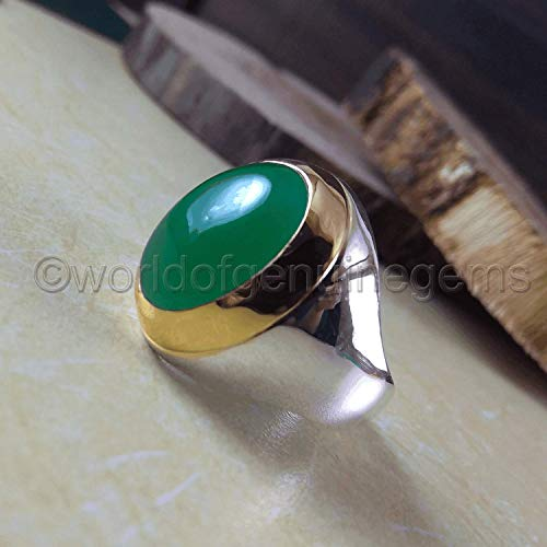 (green onyx ring, two tone, green onyx men's ring, green onyx statement ring, metaphysical ring, gift for him, father's day gift ring, healing power ring, anniversary gift ring, giftable ring)
