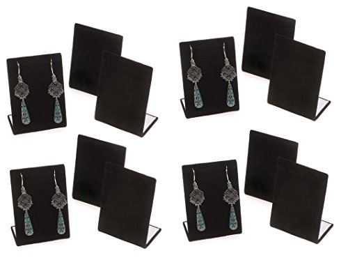 12-Pack Black Velvet Pendant Chain Necklace Display Stand 3.5