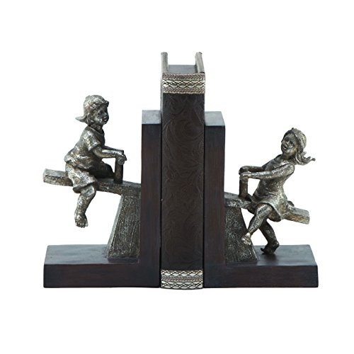 ModHaus Living Contemporary Transitional Home Decor Boy/Girl Bookend Pair in Gray Color - Includes Pen