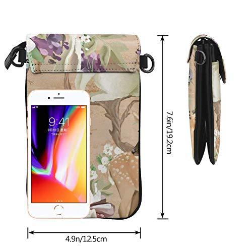 Hdadwy mobiltelefon crossbody väska rådjur fåglar med blommor kvinnor PU-läder mode handväska med justerbar rem
