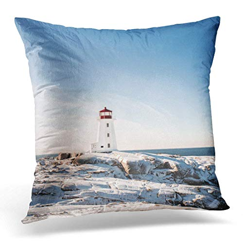 - Better One BZT Throw Pillow Cover Blue Winter Peggys Cove Nova Scotia Canada Lighthouse Red Decorative Pillow Case Home Decor Square 18