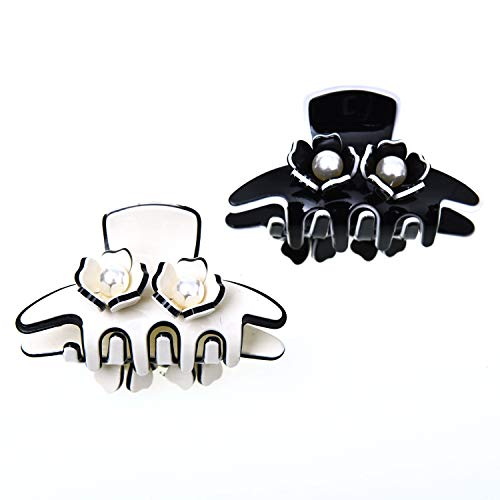 Monrocco 2 Pack 2.6'' Acrylic Flower Hair Claw Clips with Pearl for Thick Hair Women, White and Black