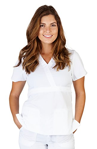 Ultra Soft Brand Scrubs - Premium Womens Junior Fit 3 Pocket Mock Wrap Scrub Top, White 38484-Large
