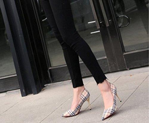 Ajunr Moda/elegante/Transpirable/Sandalias Lattice 9cm Señalaron los zapatos de tacón alto Con una multa Toda la correspondencia Apricot zapatos ,36 36