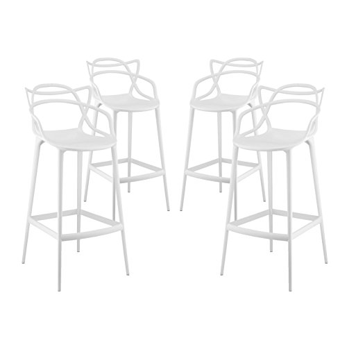 Modern Contemporary Urban Design Outdoor Kitchen Room Bar Stool Chair ( Set of Four), White, Plastic by America Luxury - Stools