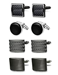 FIBO Steel 4 Pairs Cufflinks for Men Black Cufflink Set Wedding Cufflink