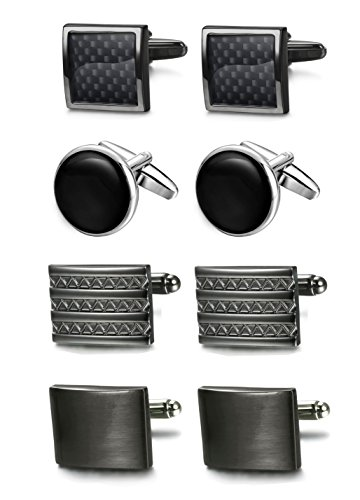 FIBO STEEL Class Cufflinks for Men Black Unique Wedding Cufflink Set Mens Dad Birthday Gifts