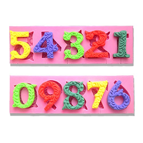 (DIY Silicone Mold Numbers Shape mould for Lolipop Cake Decoration Chocolate Biscuit with 10 cavities pink)