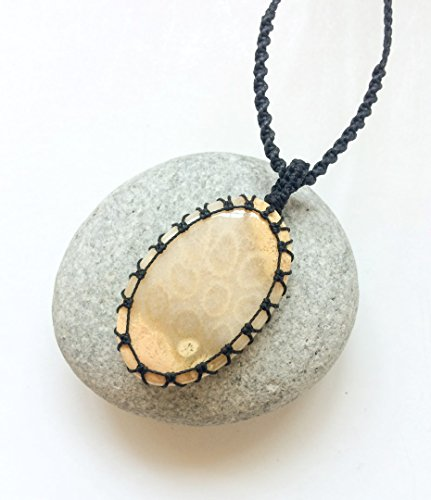Fossil coral necklace, Agatized coral macrame necklace, Fossil of coral pendant necklace, Oval fossil coral, Beige yellow, Fossilized coral