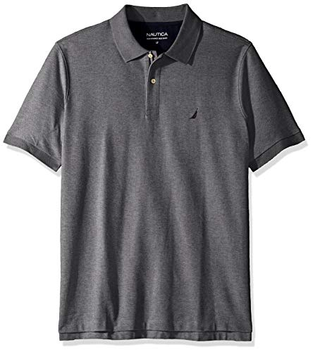 Nautica Men's Classic Fit Short Sleeve Solid Performance Deck Polo Shirt, Charcoal Heather, 2X Big]()
