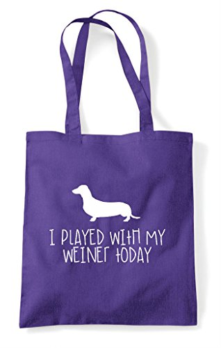 With Shopper Funny I Weiner Purple Played Dog Today Sausage My Parody Tote Bag qwS5wO