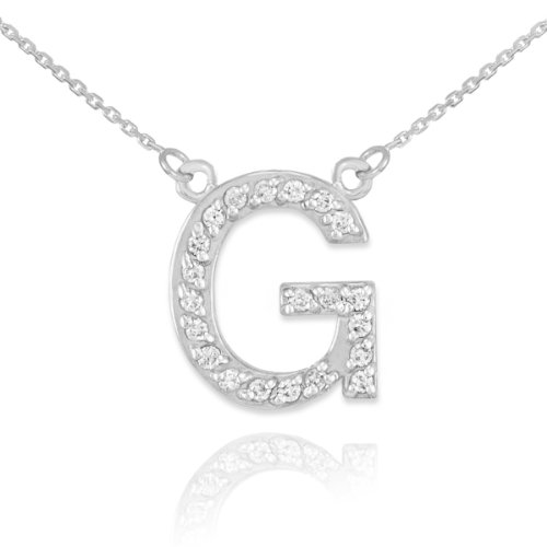 Dainty 14k White Gold Diamond Letter G Initial Pendant Necklace, ()