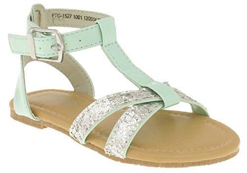Capelli New York Patent T-strap & Glitter Toe Strap Toddler Girls Sandal Mint 9