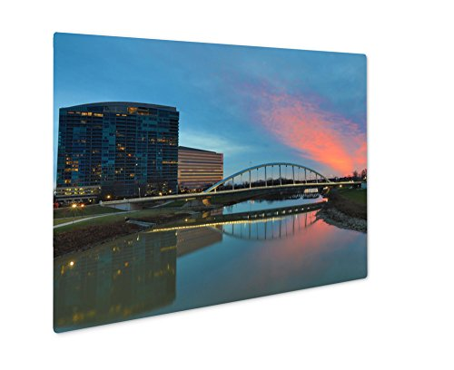 Ashley Giclee Metal Panel Print, The Main Street Bridge In Columbus Ohio Frames A Beautiful Sunset, 8x10, - Times Ohio Sunset Columbus