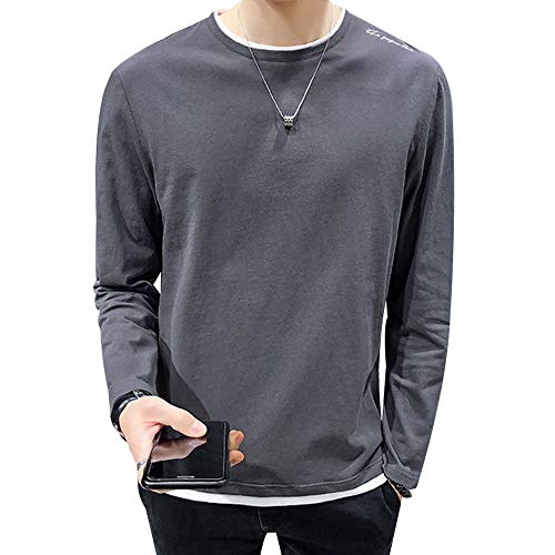 Men's Fashion Long Sleeve Cotton T-Shirt Casual Crew Neck 2 in 1 Style Shirts Classic Regular Fit Contrast Color Fake 8 Piece Top Tee Shirt witi Logo Darkgrey