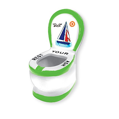 Rockin Gear Ashtray - Ceramic Sailboat Toilet Ashtray - Funny Novelty 'Rest Your Ash' Cigarette Ashtray (Green)