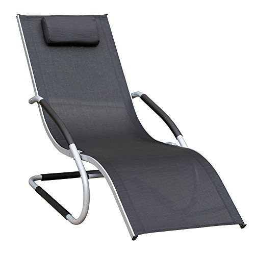 Cheap Sundale Outdoor Indoor All Weather Aluminum Chaise Lounge Chair with Head Pillow and Armrests Rocking Wave Sunbathing Recliner for Patio, Garden, Beach, Backyard, Pool, Weight Capacity 250 Pounds