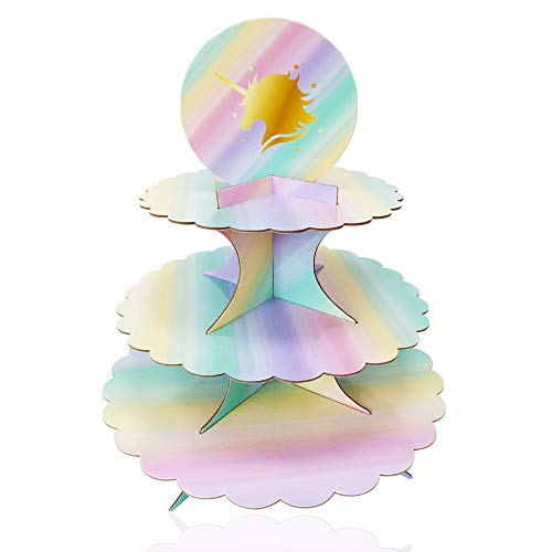 3 Tier Unicorn Cardboard Cupcake Stand Tower Mini Round Cupcake Stand Dessert Cupcake Holder Baby Shower, Gender Reveal Party, Kids Birthday Party Unicorn Themed Party - 12 inches by Lucky Party ()
