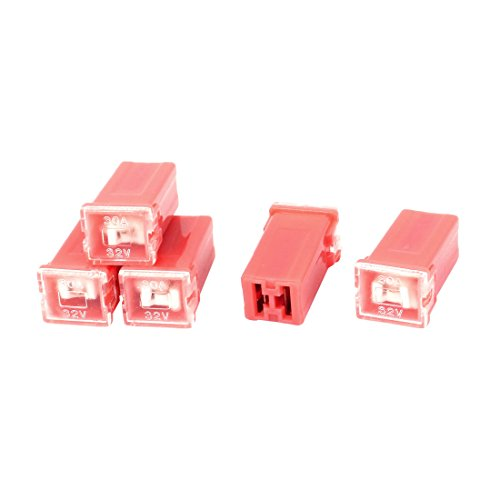 Auto Car Straight Female Terminals Link PAL Fuse 30A 32V Red 5 ()