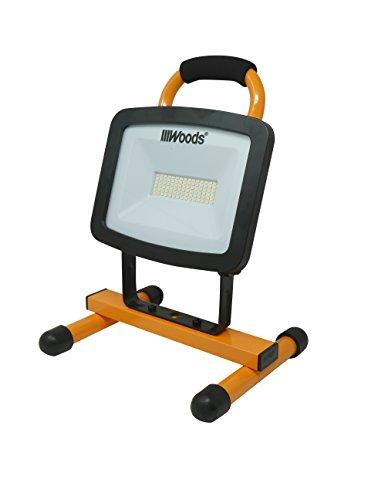 Aluminum Work Stand - Woods WL40072 Portable LED Work Light On Steel H-Stand, 6000 Lumens, 72 Watts, 4000 Kelvin, 5 Foot Cord, Orange/Black